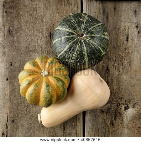 Squash Collection On A Wood,Top View