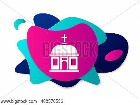 Color Santorini Building Icon Isolated On White Background. Traditional Greek White Houses With Blue