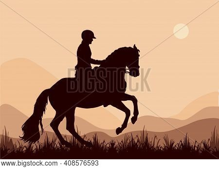 Black Silhouettes On A Green Background, Dressage, Two Riders Facing Each Other. Black Isolated Silh