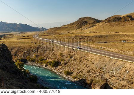 A365 Highway, Kyrgyzstan. Entrance To The Boom Gorge. Chu River.