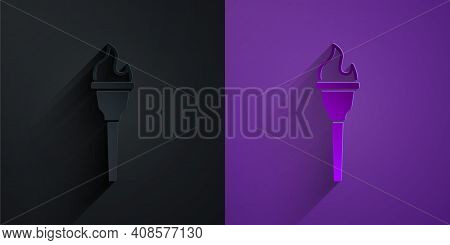 Paper Cut Torch Flame Icon Isolated On Black On Purple Background. Symbol Fire Hot, Flame Power, Fla