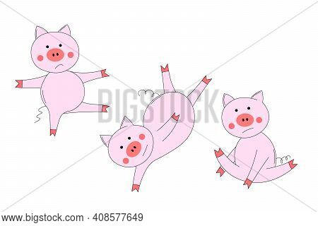 Animals Set With Pink Cute Pig. The Piglet Does Exercises, Goes In For Sports. For Kids. Outline Vec