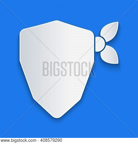 Paper Cut Vandal Icon Isolated On Blue Background. Paper Art Style. Vector
