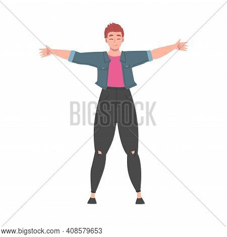 Young Woman Standing With Her Arms Outstretched, Welcome, Solidarity, Friendship And Charity Concept