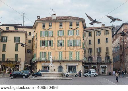 Brescia, Italy - December, 2015: Fountain Of The Minerva, Fontana Della Minerva, Neoclassical Statue
