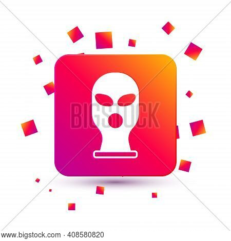 White Balaclava Icon Isolated On White Background. A Piece Of Clothing For Winter Sports Or A Mask F
