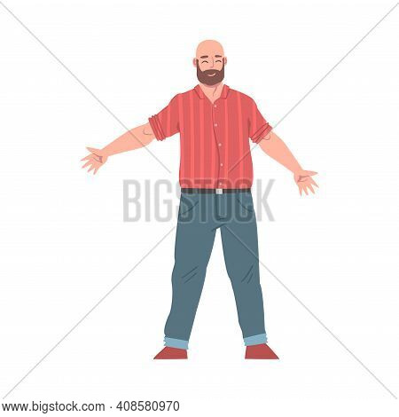 Bearded Man Standing With Wide Open Hands, Welcome Gesture, Solidarity, Friendship, Help And Support