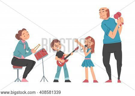 Grandparents And Grandchildren Playing Musical Instruments And Singing, Grandparents Spending Good T