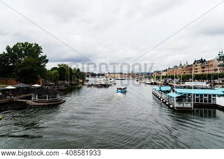 Stockholm, Sweden - August 10, 2019: Cityscape And Waterfront Of Stockholm A Cloudy Day Of Summer