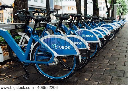 Oslo, Norway - August 10, 2019: Row Of Obos Rental Bikes Parked In The City