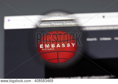 New York, Usa - 15 February 2021: Embassy Pictures Website In Browser With Company Logo, Illustrativ