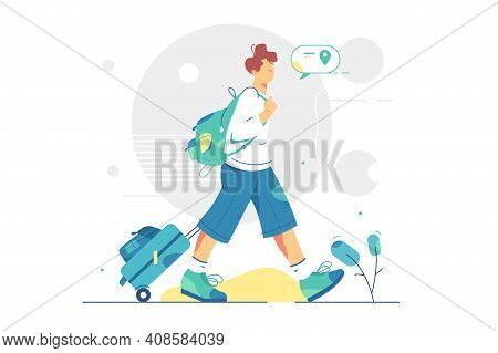 Tourist Explore New Place With Luggage Vector Illustration. Summer Tourist Character On New Adventur