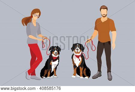 Young Man And Woman With Dogs. Pet Owners. Vector Illustration.