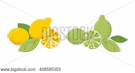 Green Juicy Limes And Lemons With Green Leafs. Composition Of Citrus Fruits Whole And Cut One
