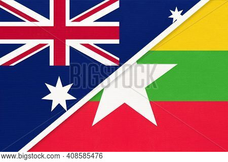 Australia And Myanmar Or Burma, National Flags From Textile. Relationship, Partnership And Match Bet