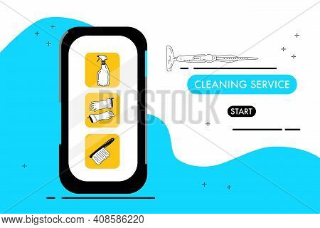 Smartphone With Cleaning Service Website.catalog Of Washing Tools For Floor,windows And Dust Removin