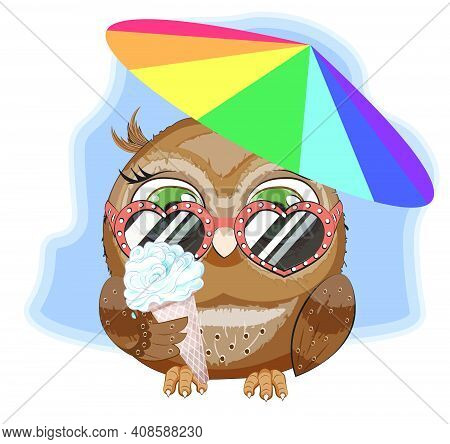 Hello Summer Baby Owl In Sunglasses And Ice Cream Under Beach Umbrellao, Picture In Hand Drawing Car