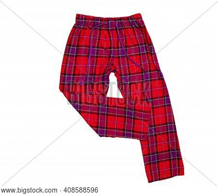 Sleep Pants Female On White Background. Pants Made Of Red Pattern Cotton Fabric. Pajama Pants For Wo