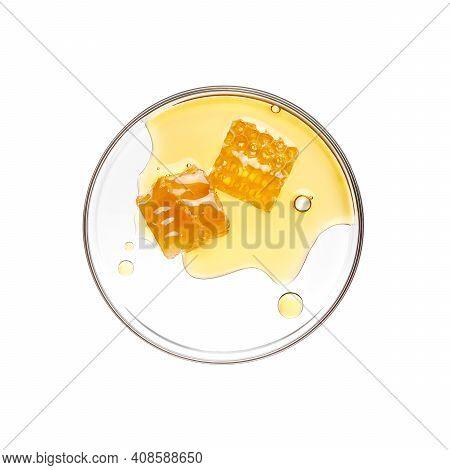 Honeycomb With Honey On Petri Dish Over White Background