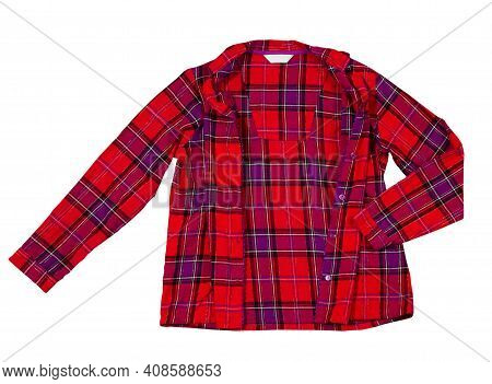 Sleepwear Shirt Female On White Background. Shirt Made Of Red Pattern Cotton Fabric. Pajama For Woma