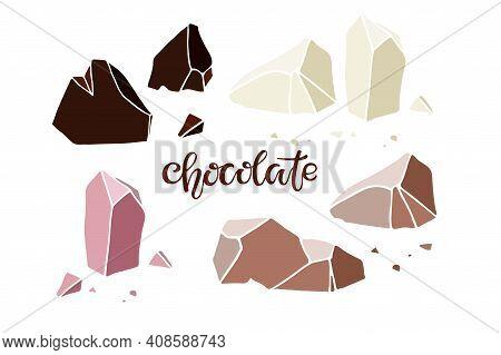 Chocolate Different Kinds. Broken Pieces Of White, Milk, Dark, Ruby Chocolate. Chocolate Handwritten