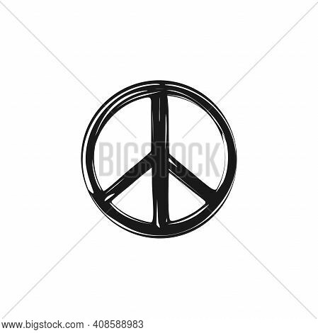 Sketchy Peace Label. Pacifist, Happy, Peace Symbol Drawn By Paint Brush. Black Hippie Graffiti Sign