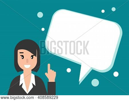 Businesswoman Or Attorney With Speech Bubbles. Flat Vector Illustration On Blue Background. Law Cons