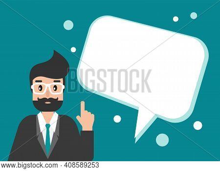 Businessman Or Attorney With Speech Bubbles. Flat Vector Illustration On Blue Background. Law Consul