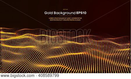 Gold Glitter Confetti Abstract Background. Gold Glitter Background. Elegant Golden Glitter Bokeh Lig