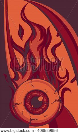 Single Eyeball On Fire In Flames Vector Illustration