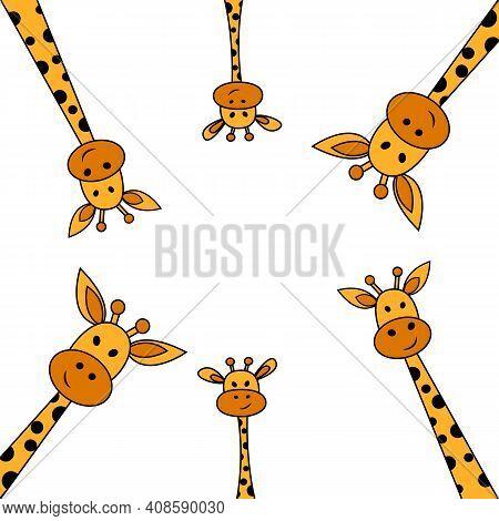 Peeking Out Giraffes.cute Cartoon Funny Giraffes On White Background. Vector Illustration