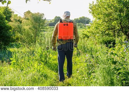 Gardener Walks Through The Garden With An Insect Pest Sprayer On His Back. Sprinkles With Sprayer. B