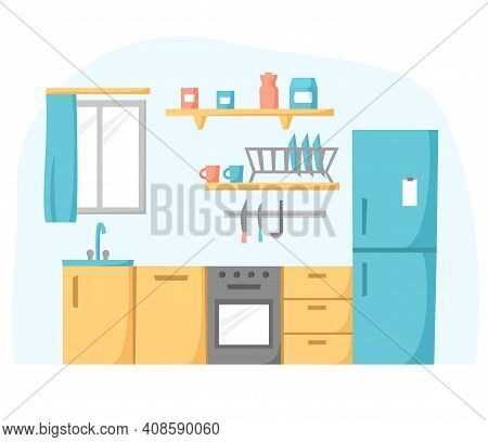 Kitchen In Flat Design, Cook Room Concept, Kitchen Unit With Refrigerator, Oven And Stove, Vector Il
