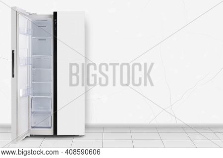 Major Appliance - Left Open Two-door Side By Side Refrigerator In Front On A White Wall Background