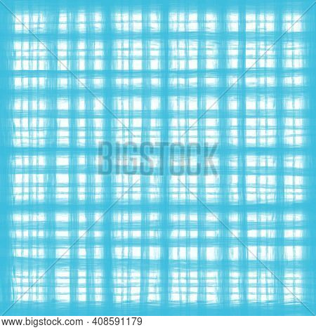 Turquoise Blue White Vintage Checkered Background With Blur, Gradient And Grunge Texture. Classic Ch