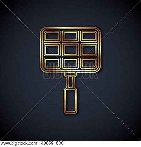 Gold Line Barbecue Steel Grid Icon Isolated On Black Background. Top View Of Bbq Grill. Wire Rack Fo