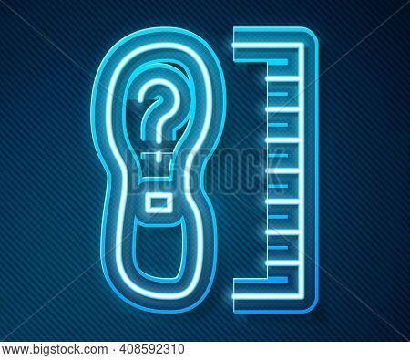Glowing Neon Line Square Measure Foot Size Icon Isolated On Blue Background. Shoe Size, Bare Foot Me