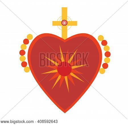 Mexican Sacred Hearts, Spirit Mystical Miracles Heart. Day Of The Dead Dia De Los Muertos Holiday. V