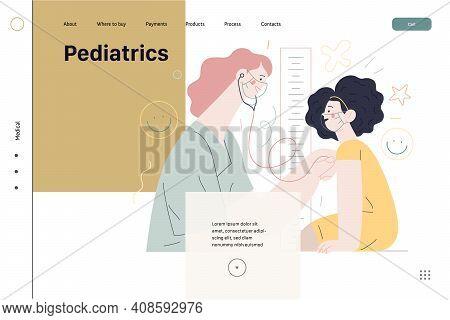 Pediatrics - Medical Insurance -modern Flat Vector Concept Digital Illustration - Female Pediatricia