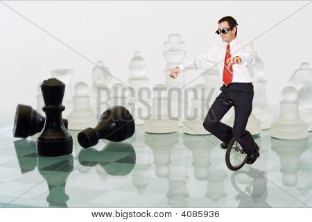 Empresário, mantendo o equilíbrio