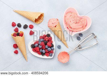 Homemade berry ice cream sundae. Top view flat lay