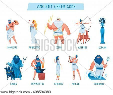 Ancient Greek Gods. The Mythological Deities Of Olympia. Aphrodite, Apollo, Artemis, Atropos, Dionys