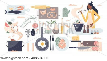 Cooking Set As Household Kitchen Food Preparation Items Tiny Person Concept