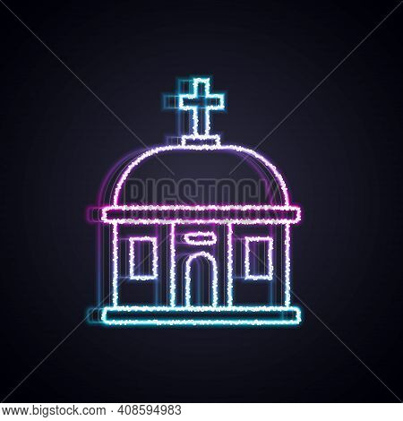 Glowing Neon Line Santorini Building Icon Isolated On Black Background. Traditional Greek White Hous
