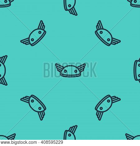 Black Line Helmet With Wings Icon Isolated Seamless Pattern On Green Background. Greek God Hermes. V
