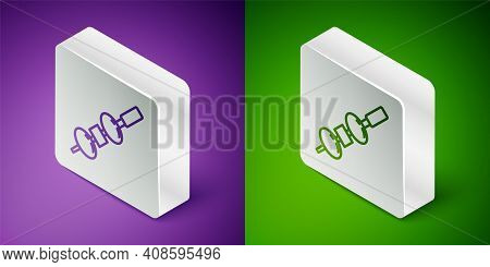 Isometric Line Olive And Cheese On Chopstick Icon Isolated On Purple And Green Background. Canape, T