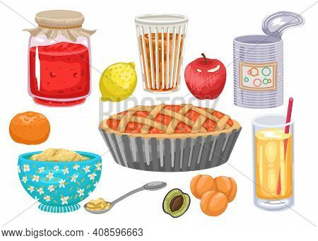 Set Of Products With Fruits. Fruit Jam In Jar, Juice And Canned Food. Fresh Fruits. Fruit Products,