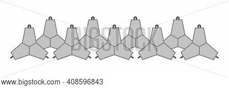 Two Rows Of Concrete Tetrapods. Vector Isolated On White.
