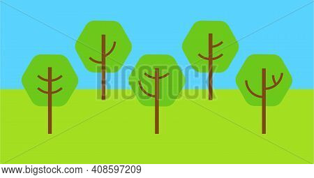 Row Of Geometric Deciduous Trees. Vector Isolated.