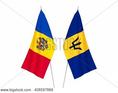 National Fabric Flags Of Barbados And Moldova Isolated On White Background. 3d Rendering Illustratio